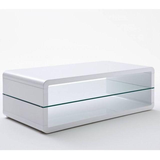 Inside 75 Table basse design Agen laquée blanc brillant plateau inférieur en verre