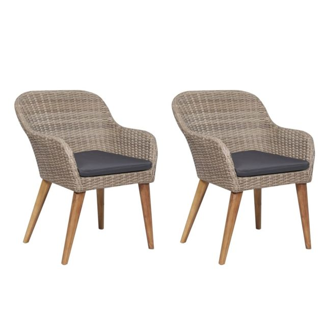 Chaises d'extérieur avec coussins 2 pcs Résine tressée Marron