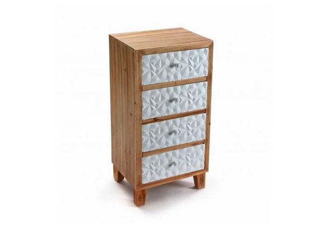 Declikdeco La Commode En Bois 4 Tiroirs Blanc H83,5 Ivalo apportera une touche de modernité à votre décoration. Avec les tiroirs im