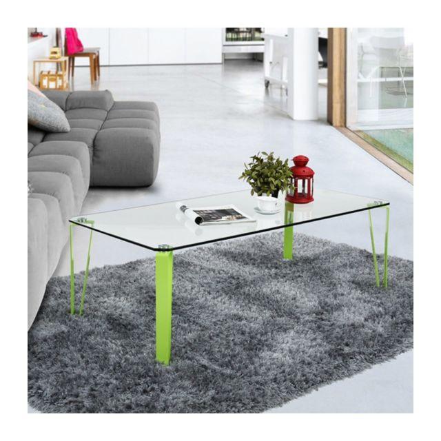 Calicosy Table Basse Rectangulaire En Verre Et Metal Colore