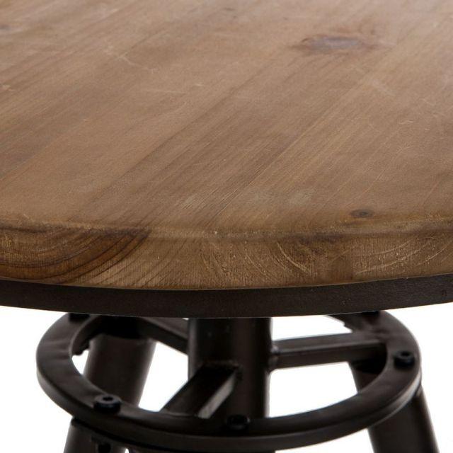 Ma Maison Mes Tendances - Tabouret haut à hauteur réglable en bois et métal noir Rolly - L 60 x l 60 x H 90 Nc