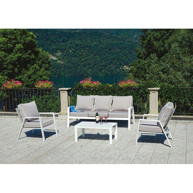 Salon de jardin en aluminium blanc, coussins coloris gris tourterelle
