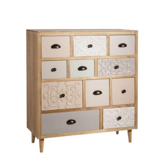 Tousmesmeubles Commode 11 tiroirs Bois - Pastello - L 90 x l 36 x H 105