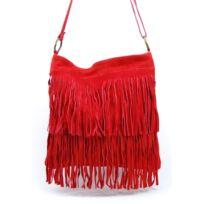 Oh My Bag - Sac à Main bandoulière femme en cuir à franges rouge clair