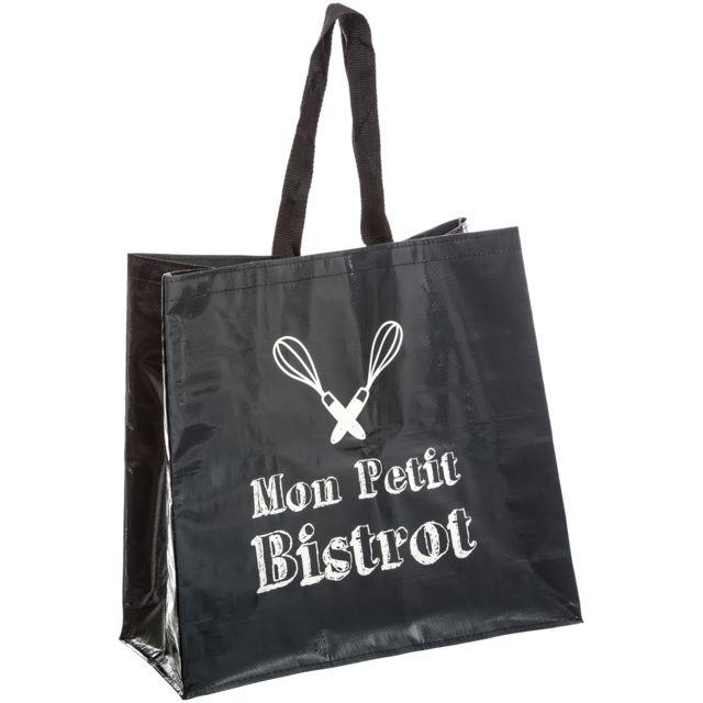 Sac Pour Course Shopping Cabas Mon Petit Bistrot Brasserie Noir