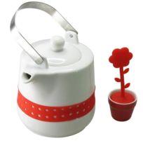 Aucune - Theiere et boule a the avec petit pot blanc et rouge