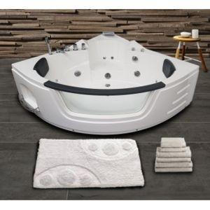 ouest balneo baignoire balneo d 39 angle 140 x 140 blanche. Black Bedroom Furniture Sets. Home Design Ideas