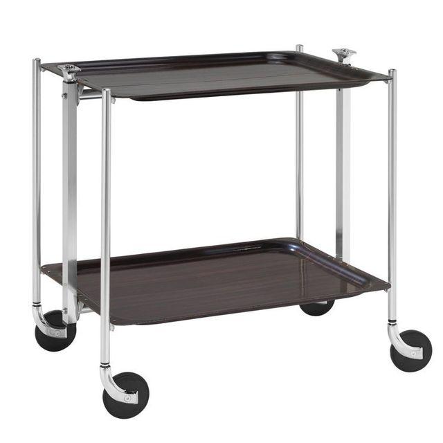 Platex Table roulante pliable - 2 plateaux - Palissandre - Chromée