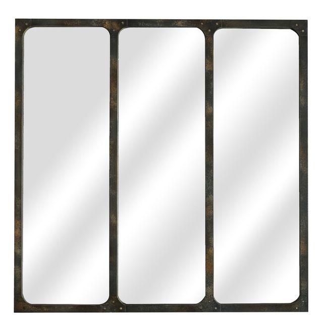Emde - Miroir mural en métal 3 bandes verticales 70x70cm Marco - Rouille 0cm x 0cm