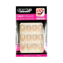 Glam Up - Faux Ongles + Adhésifs - Beige Transparent Paillettes Argentées