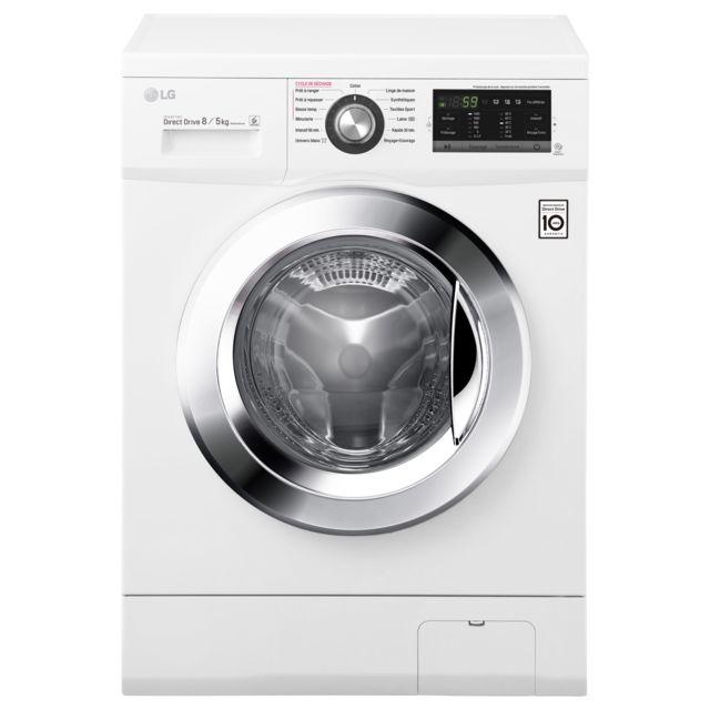 LG Lave-linge frontal séchant - F854G63WR - Blanc Capacité :8/5 Kg - Essorage 1400 trs/min - Volume tambour : 58 L - Niveau sonore lavage : 57 dB / essorage : 72 dB - 10 programmes - 7 options - Fin différé - Verrouillage enfant - S&e