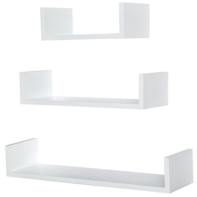 Autre Lot de 3 étagères murales design pour livres/décoration blanc 2708015