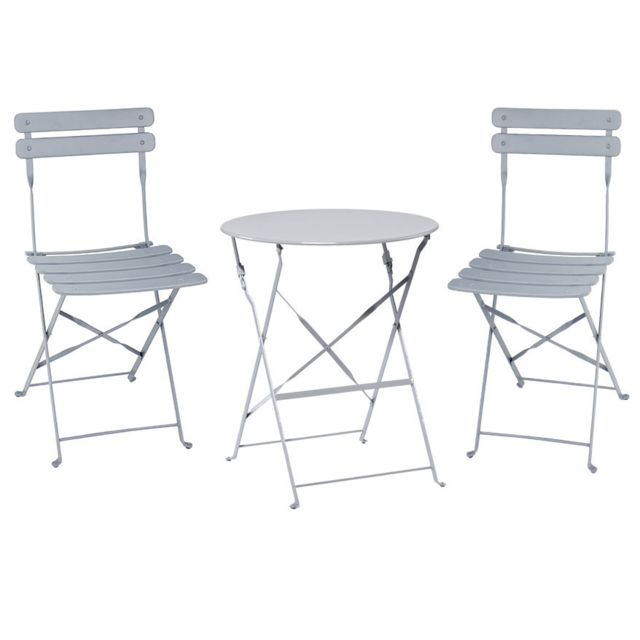 Table Et Chaise Bistrot.Table Bistrot Ronde Pliante Taupe 2 Chaise Bistrot Pliante Gris