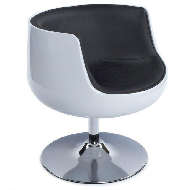 TECHNEB Fauteuil design TARN rotatif noir et blanc