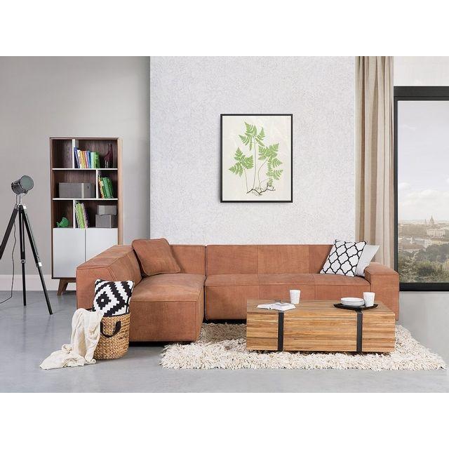 Beliani Canapé d'angle - canapé en cuir vintage cognac - sofa Adam D