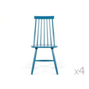 Kaligrafik - Chaise à barreaux vintage en bois - lot de 4 Ralf - Bleu