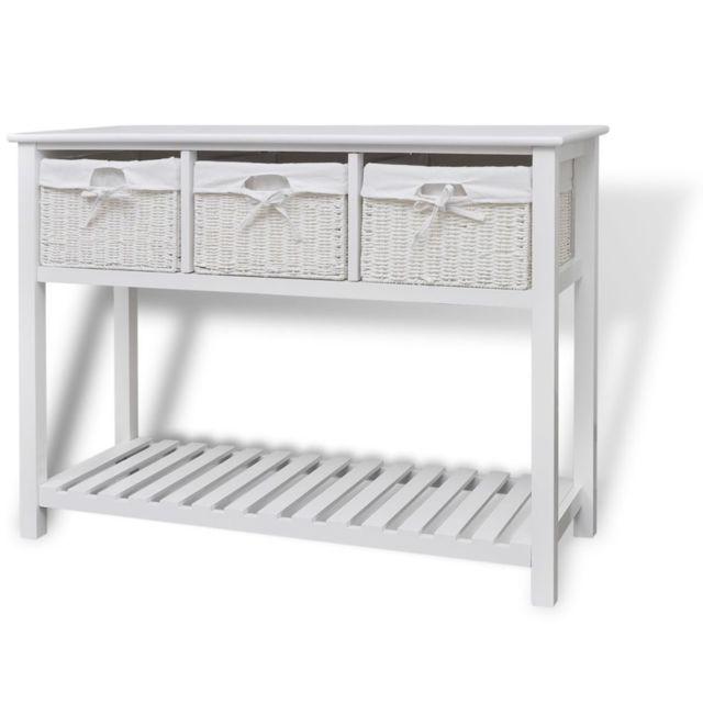 Vidaxl Buffet Blanc Console Meuble de Rangement Table d'Appoint Chambre Maison