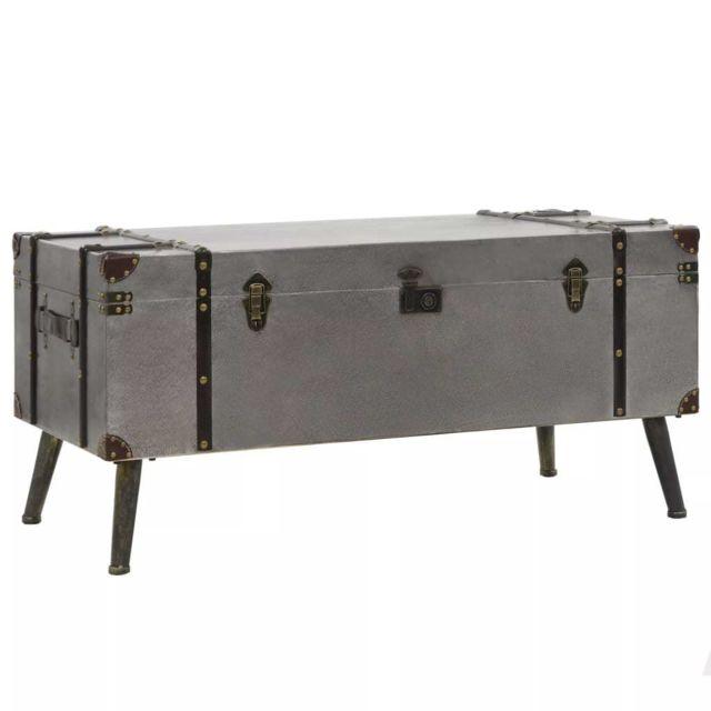 Vidaxl Table Basse Mdf et Aluminium Table d'Appoint Table de Salon Décor
