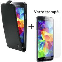 Dolce Vita - Pack Etui Slim à rabat vertical et vitre en verre trempé inrayable pour Galaxy S5