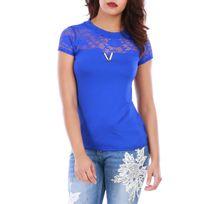 Lamodeuse - Top bleu manches courtes dentelle et bijoux