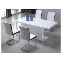 Grand VENTE UNIQUE   Table à Manger SOLISTE   6 Couverts   MDF   Blanc Laqué