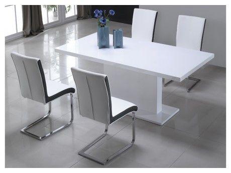 VENTE-UNIQUE Table à manger SOLISTE - 6 couverts - MDF - Blanc laqué