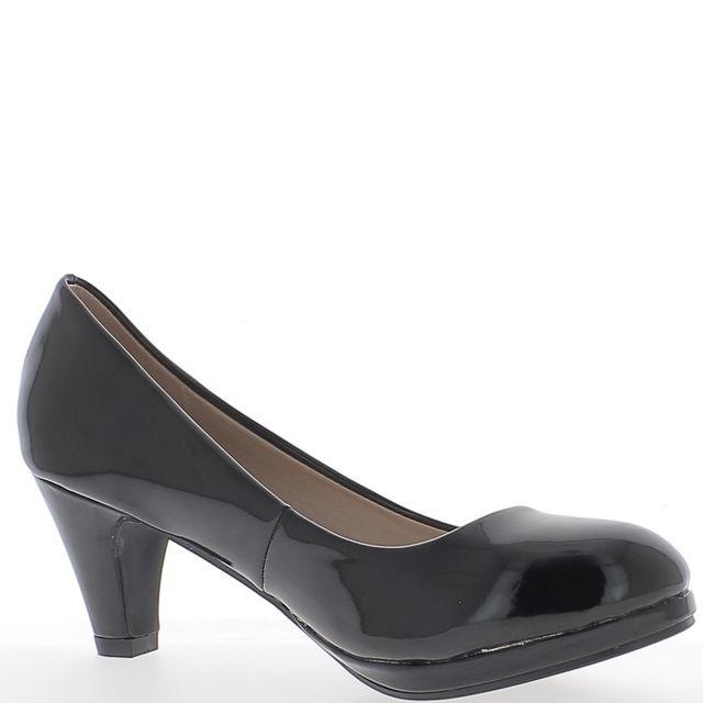Chaussmoi Escarpins classiques noirs vernis à petits talons de 6,5cm petite plateforme