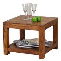COMFORIUM - Table basse carrée 60x60 cm avec un compartiment de rangement  en bois massif sheesham 2b031d75dba2