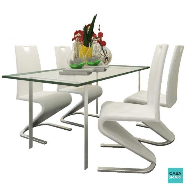 Casasmart Lot de 4 chaises moderne Stamos en simili cuir blanc