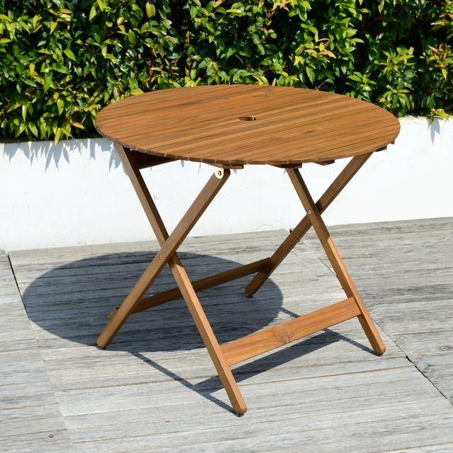 Chillvert Table de Jardin Ronde Pliable Bois Diamètre 90
