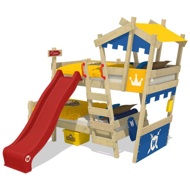 WICKEY Lit superposé avec toboggan Crazy Castle lit pour enfant en bois