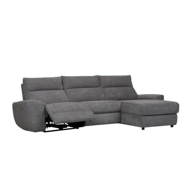 CANAPE - SOFA - DIVAN VILLE Canapé d'angle droit relax électrique - Tissu Anthracite - L 290 x P 160 x H 92 cm