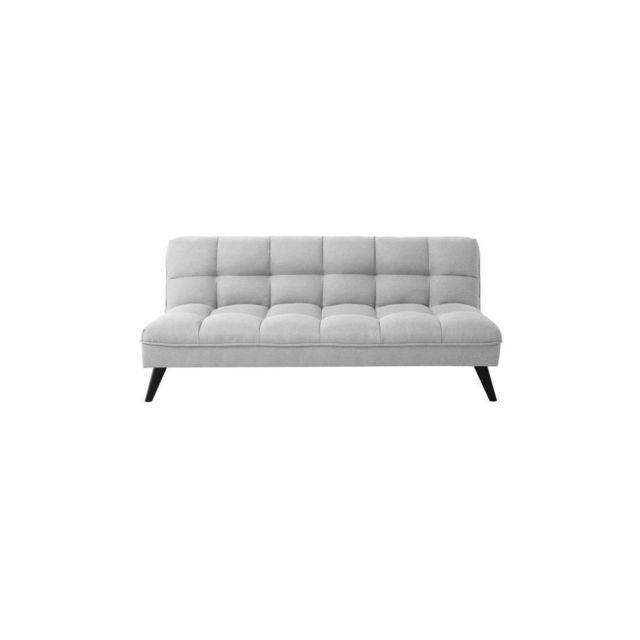 Sans Marque Fluffy Banquette Clic Clac 3 Places - Tissu Gris Clair - Style Contemporain - L 184 X P 82 Cm
