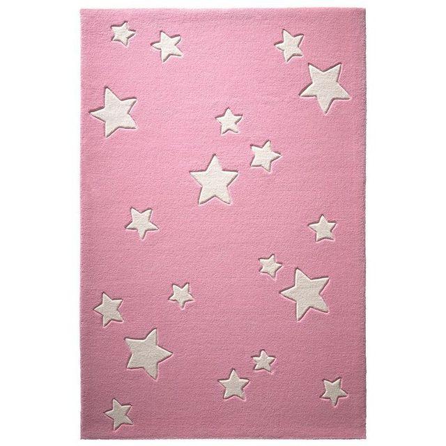 Tapis Ciel Etoiles Rose par pour chambre enfant fille - Couleur - Rose,  Taille - 60 x 100 cm