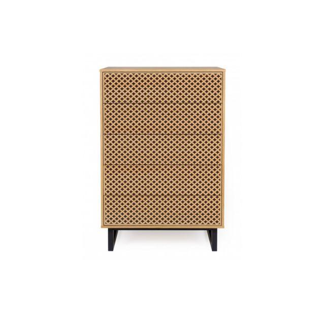 HELLIN Commode moderne en bois 5 tiroirs - NARVIK