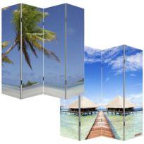 Pegane - Paravent espagnol avec photo de plage, H180 x L160 cm