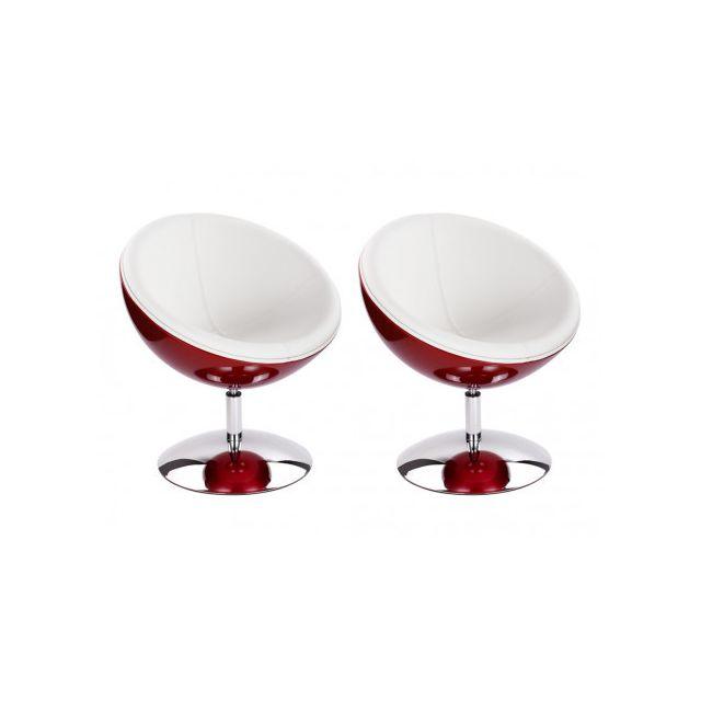 Marque Generique Lot de 2 fauteuils boule Cassiopee - Rouge