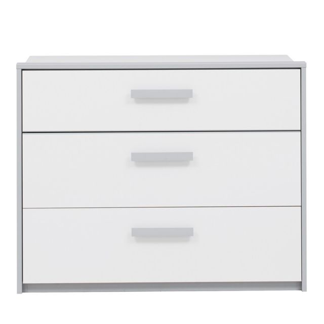 Tousmesmeubles Commode 3 tiroirs Blanc/Gris - Jewel - L 98 x l 45 x H 77