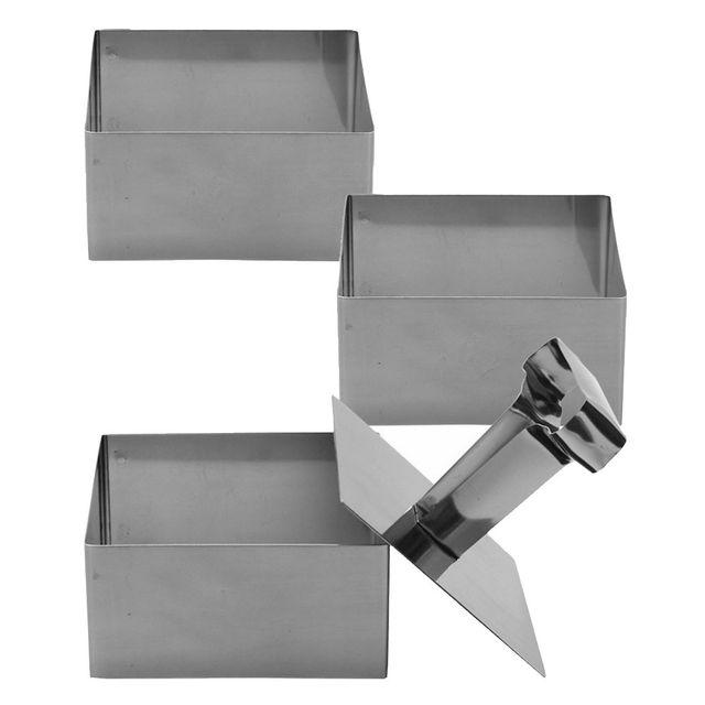 Promobo Lot 3 Emporte Pièces Pro Forme Carré 6cm en Inox avec Poussoir