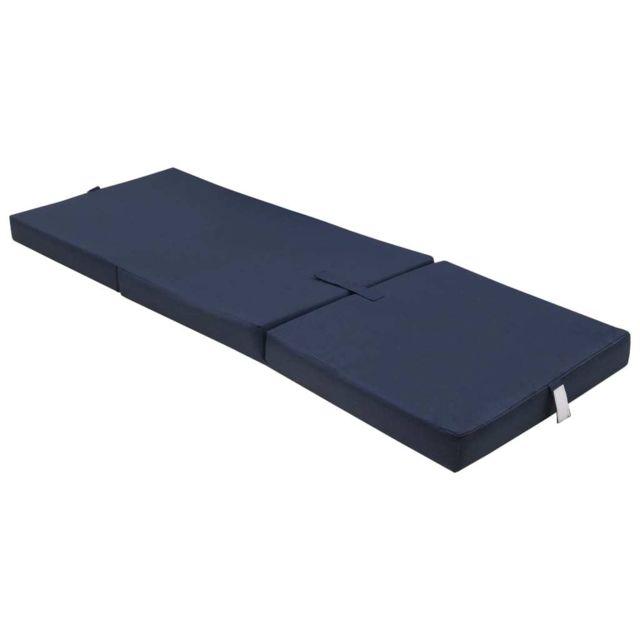Stylé Lits et accessoires selection Manille Matelas en mousse pliable en 3 sections 190 x 70 x 9 cm Bleu