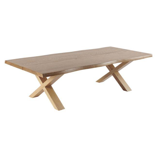 HELLIN Table basse en bois chêne massif GANAK
