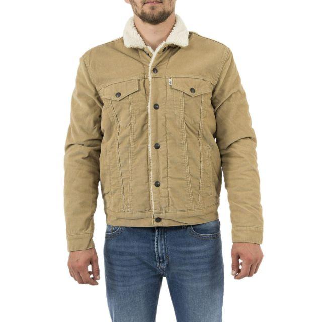 49f8a7dceea49 LEVIS - blousons et vestes type 3 sherpa trucker beige - pas cher Achat    Vente Blouson homme - RueDuCommerce