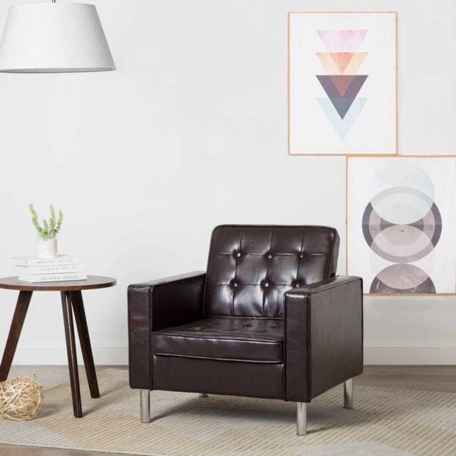 sublime Fauteuils collection Nairobi Fauteuil Revêtement simili-cuir Marron 75 x 70 x 75 cm