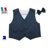 Poussin Bleu - Gilet sans manche garçon, marine et noeud Couleur - Bleu, Taille - 60 cm 3 mois