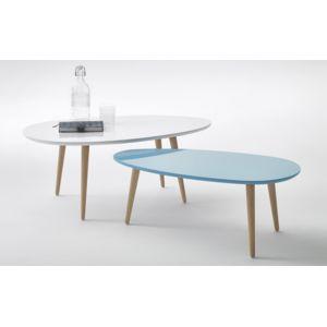 Bobochic tables basses gigognes scandinaves lot de 2 for Table basse scandinave bleu