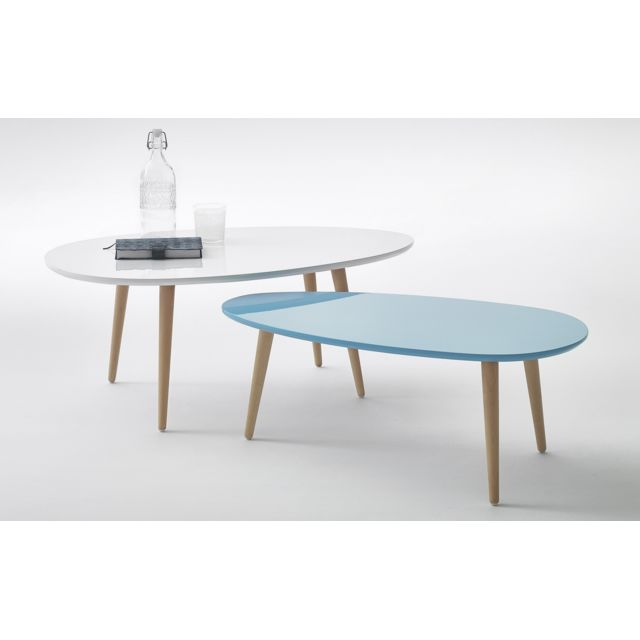 Bobochic Tables Basses Gigognes Scandinaves Lot De 2 Mdf Laque