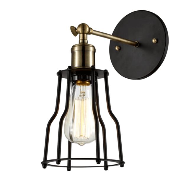 kosilum applique industrielle noire et bronze r glable fanzio pas cher achat vente. Black Bedroom Furniture Sets. Home Design Ideas