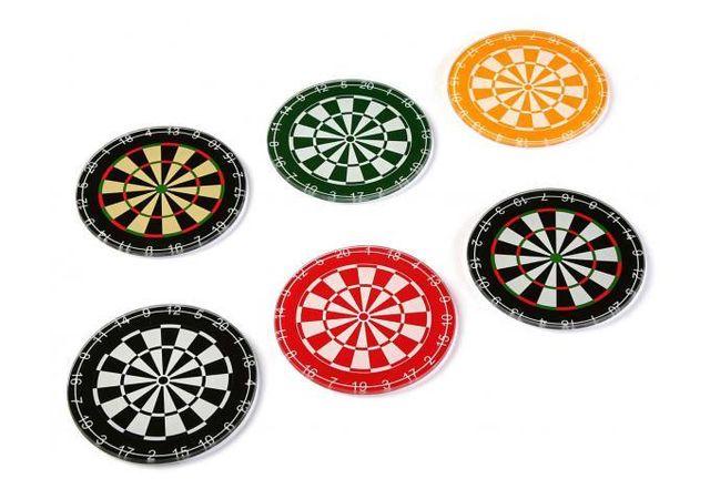 Declikdeco Ajoutez une touche colorée à votre table avec le Set De 6 Dessous De Verre Impressions Jeu De Flechettes Colorées En Ver