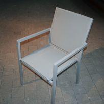 Gecko Jardin - Salon Otrante table pliante alu gris + 2 fauteuils textilène gris