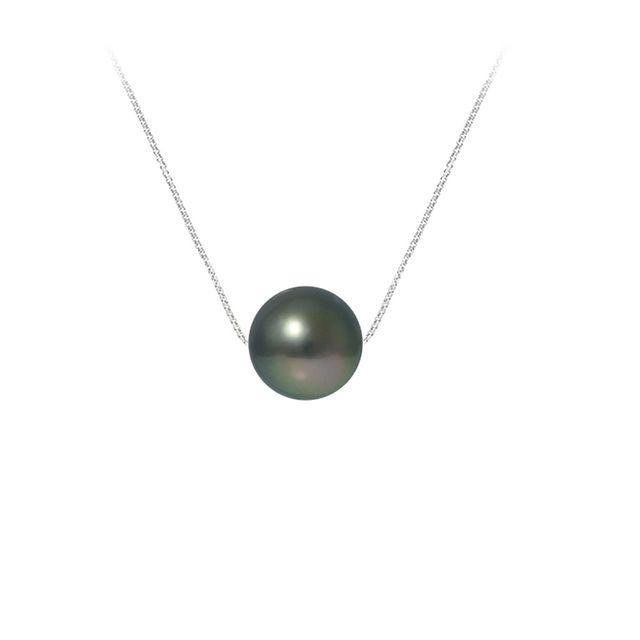 Blue Pearls Collier Perle de Tahiti et Chaine en Argent Massif 925 - Bps K717 W